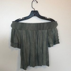 NWT • Necessary Clothing • Olive Off the Shoulder